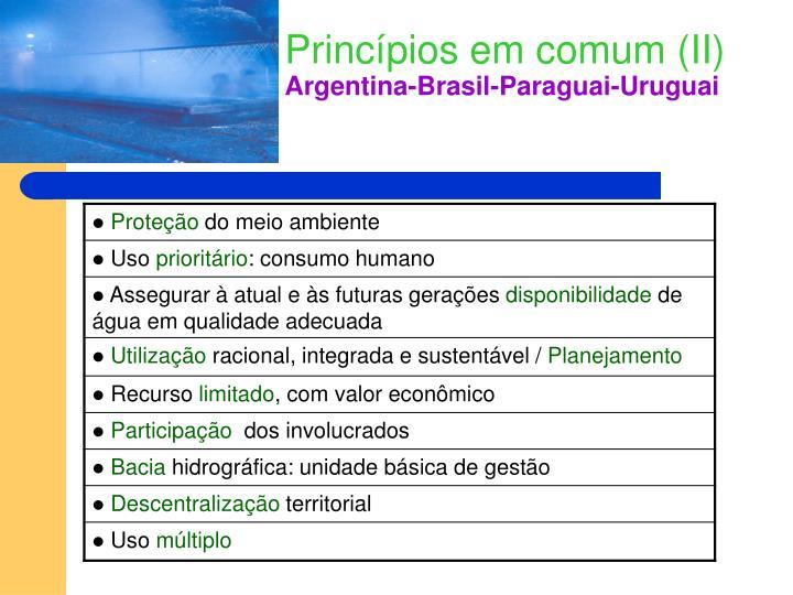 Princípios em comum (II)