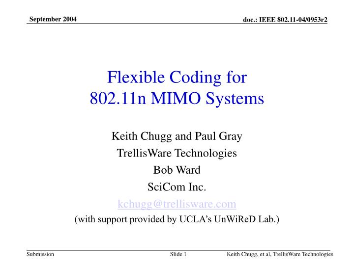 flexible coding for 802 11n mimo systems n.
