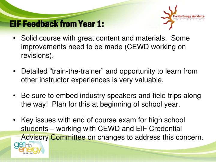 EIF Feedback from Year 1:
