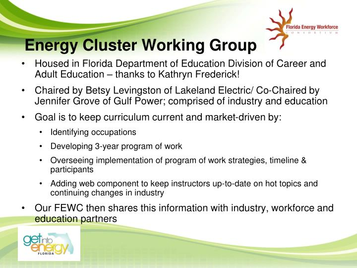 Energy Cluster Working Group