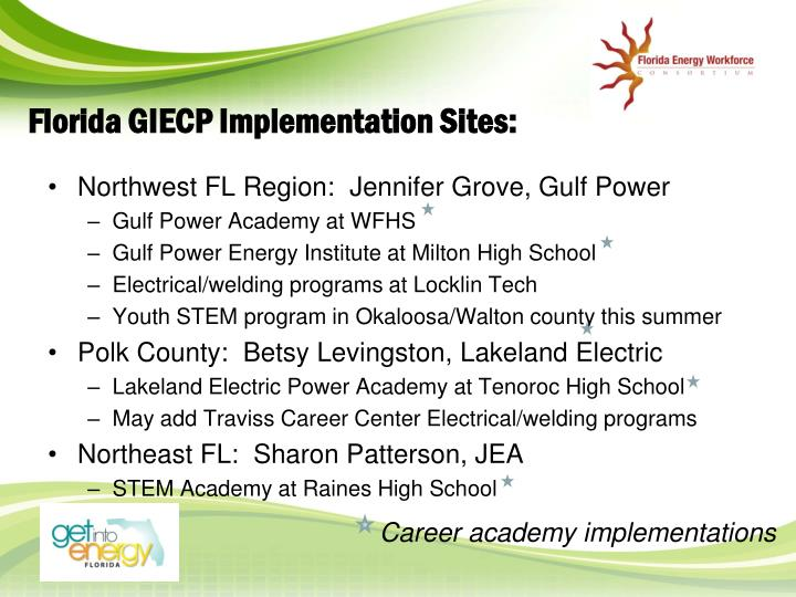 Florida GIECP Implementation Sites: