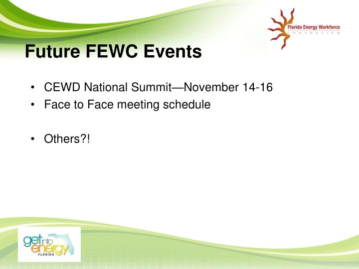 Future FEWC Events