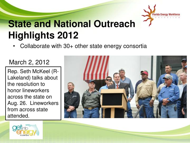 State and National Outreach Highlights 2012