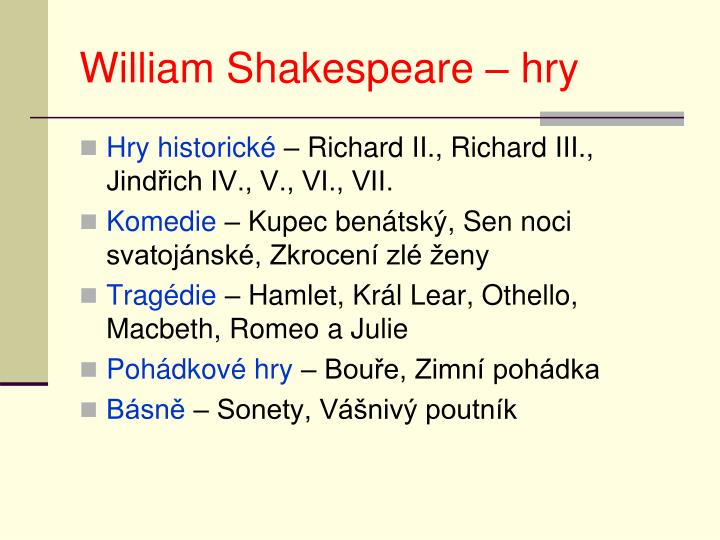 William Shakespeare – hry