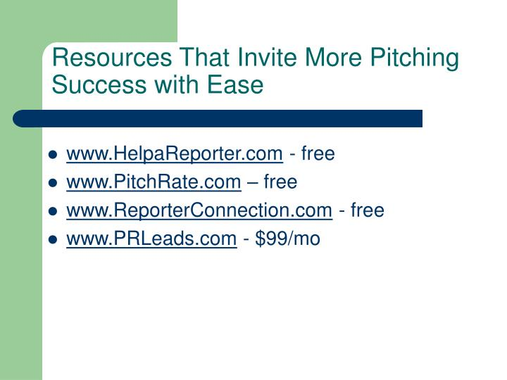 Resources That Invite More Pitching Success with Ease