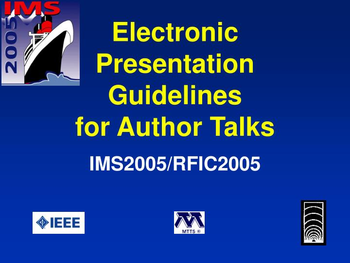 electronic presentation guidelines for author talks n.