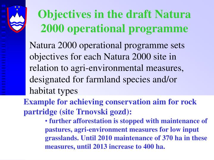 Objectives in the draft Natura 2000 operational programme