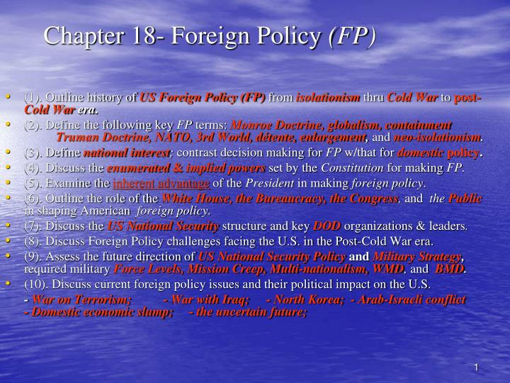 chapter 18 foreign policy fp n.