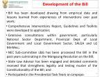 development of the bill