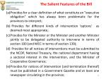 the salient features of the bill