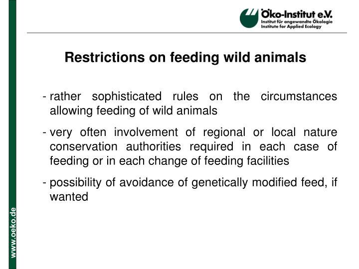 Restrictions on feeding wild animals