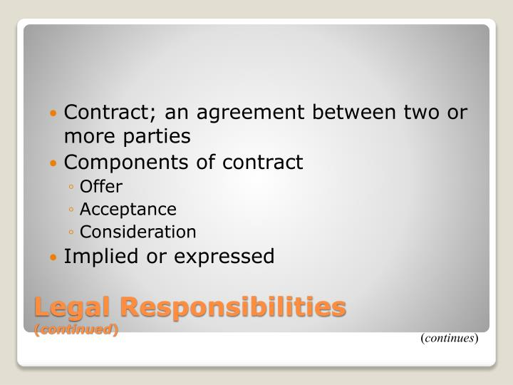 Contract; an agreement between two or
