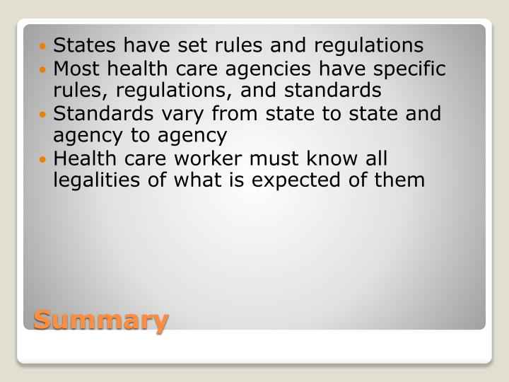 States have set rules and regulations