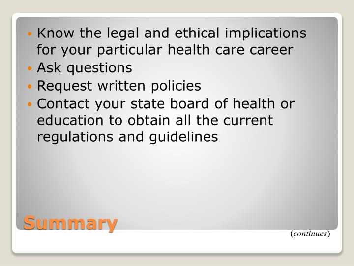 Know the legal and ethical implications