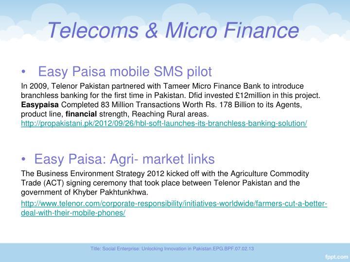 Telecoms micro finance