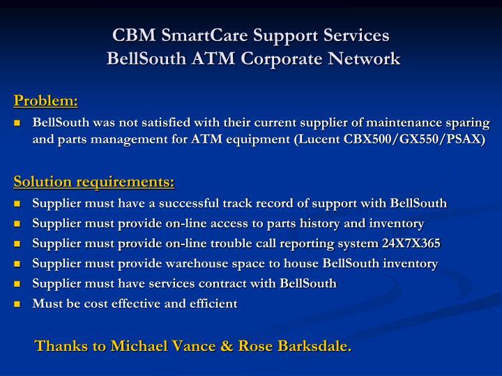 CBM SmartCare Support Services