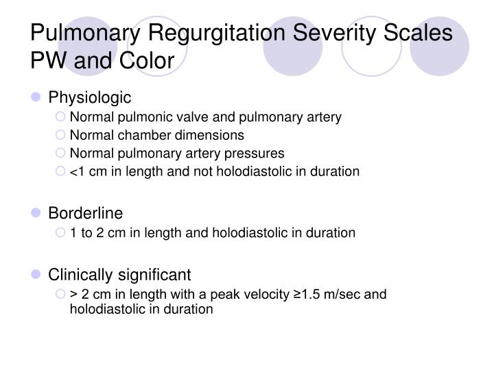 Pulmonary Regurgitation Severity Scales PW and Color