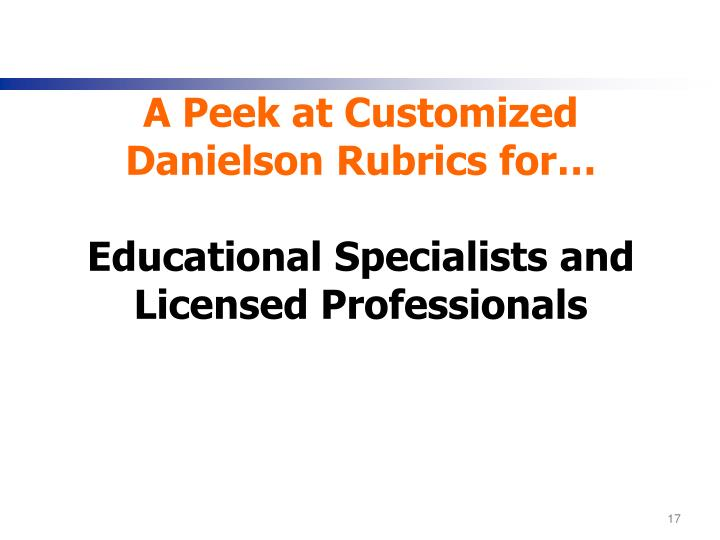 A Peek at Customized Danielson Rubrics for…