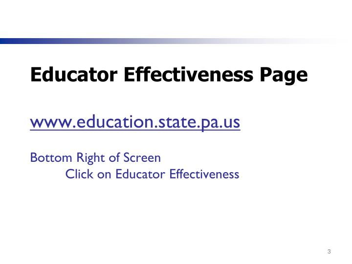 Educator Effectiveness Page
