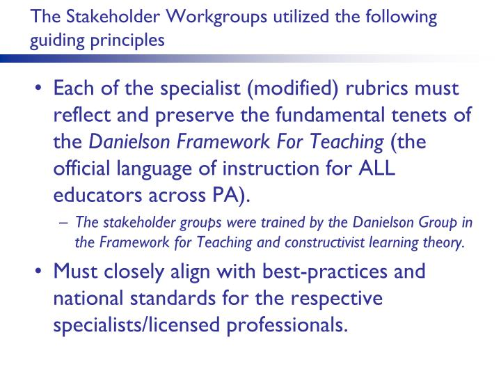The Stakeholder Workgroups utilized the following guiding principles