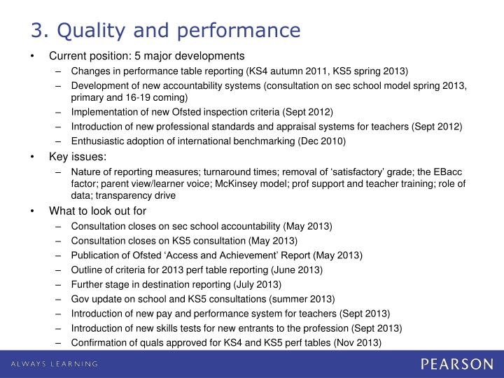 3. Quality and performance
