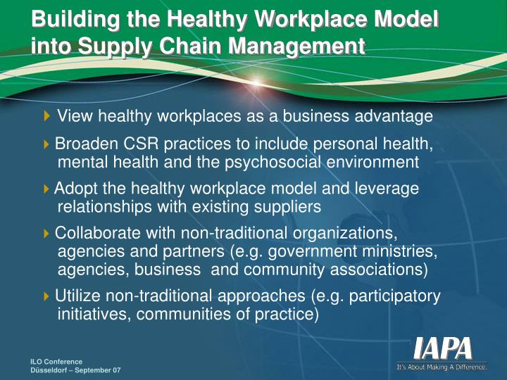 Building the Healthy Workplace Model into Supply Chain Management