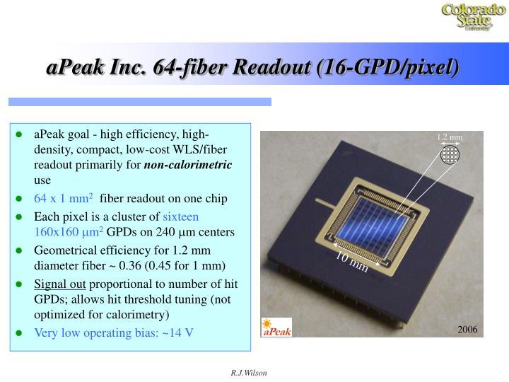 aPeak Inc. 64-fiber Readout (16-GPD/pixel)