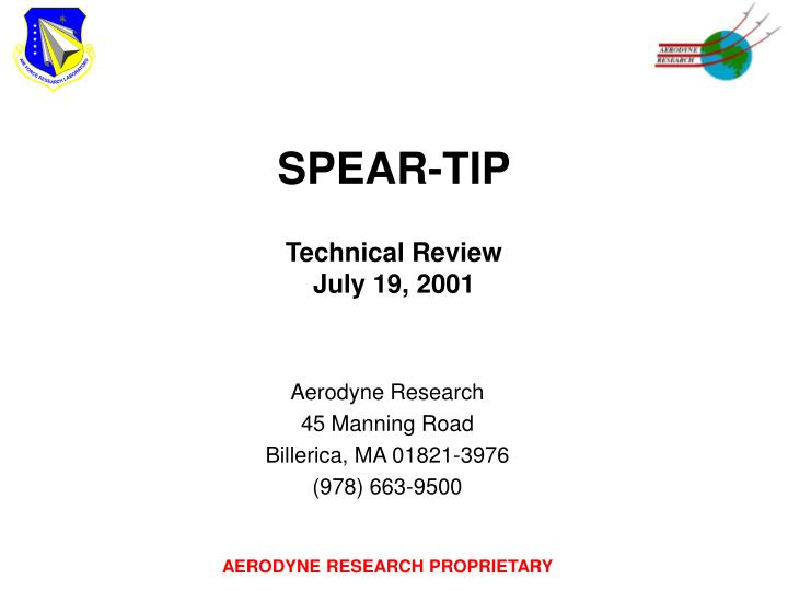 spear tip technical review july 19 2001 n.