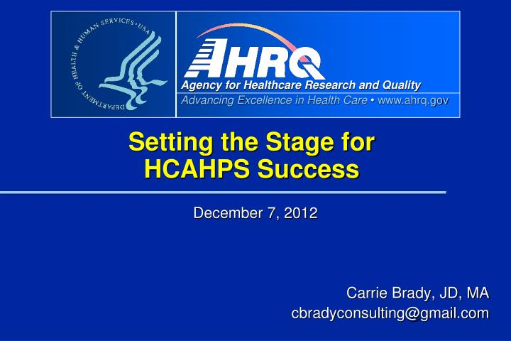 setting the stage for hcahps success n.