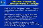 ahrq hret patient safety learning network psln project
