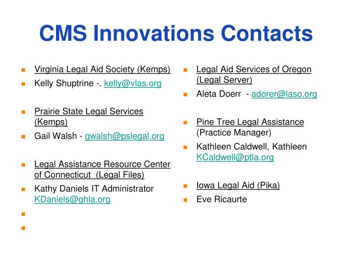 CMS Innovations Contacts