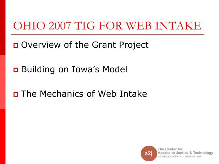 OHIO 2007 TIG FOR WEB INTAKE