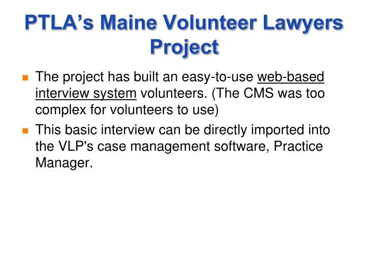 PTLA's Maine Volunteer Lawyers Project