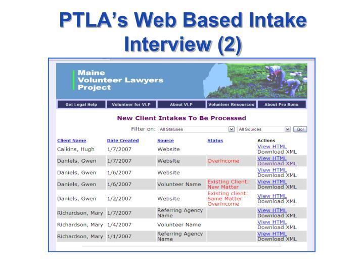 PTLA's Web Based Intake Interview (2)