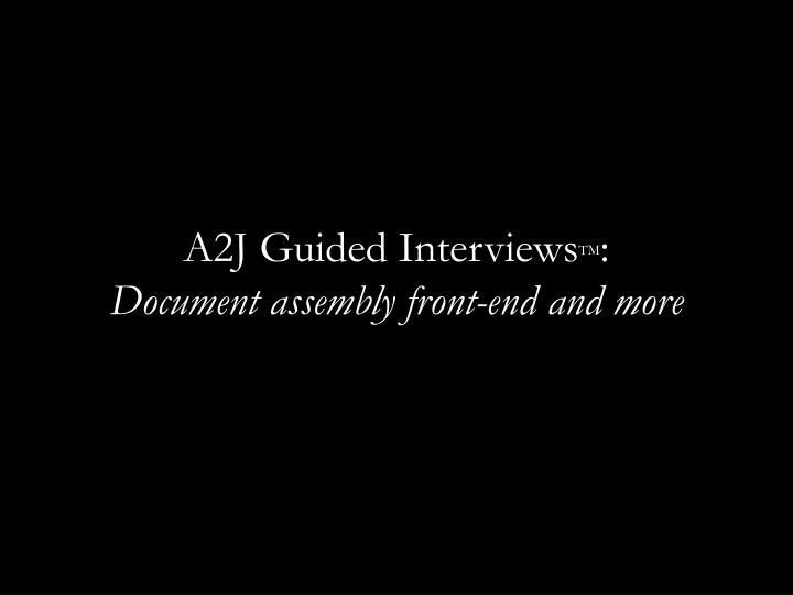 A2J Guided Interviews