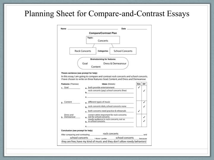 Planning Sheet for Compare-and-Contrast Essays