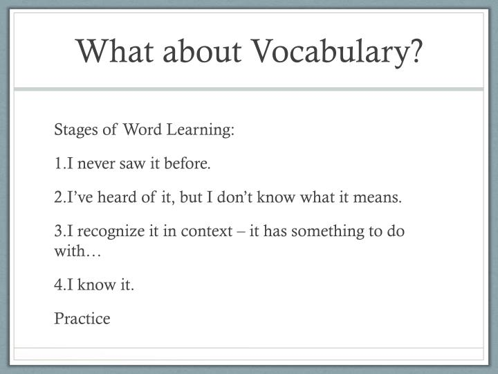 What about Vocabulary?