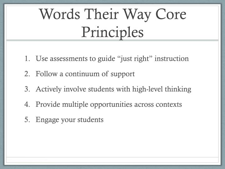 Words Their Way Core Principles