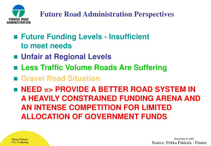 Future road administration perspectives