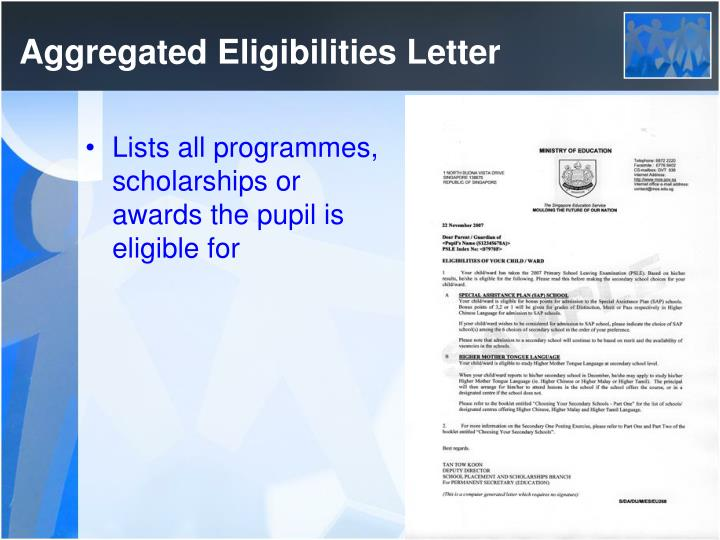 Aggregated Eligibilities Letter