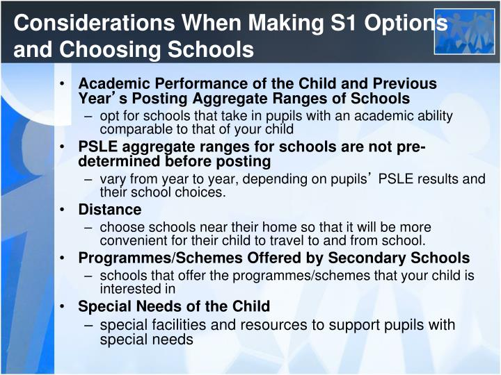 Considerations When Making S1 Options and Choosing Schools