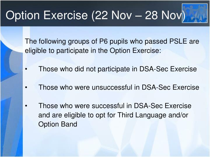 Option exercise 22 nov 28 nov