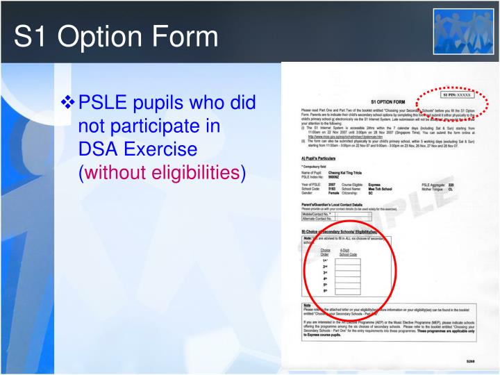S1 Option Form