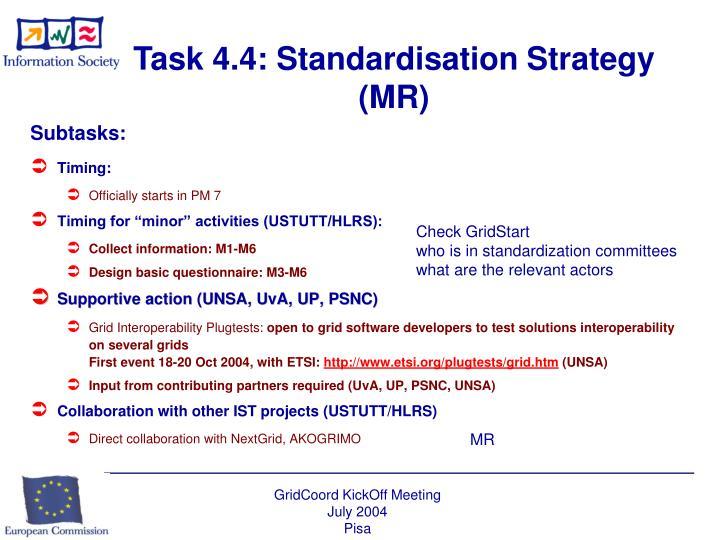 Task 4.4: Standardisation Strategy (MR)