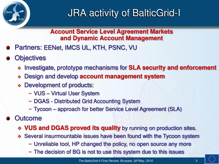 Jra activity of balticgrid i