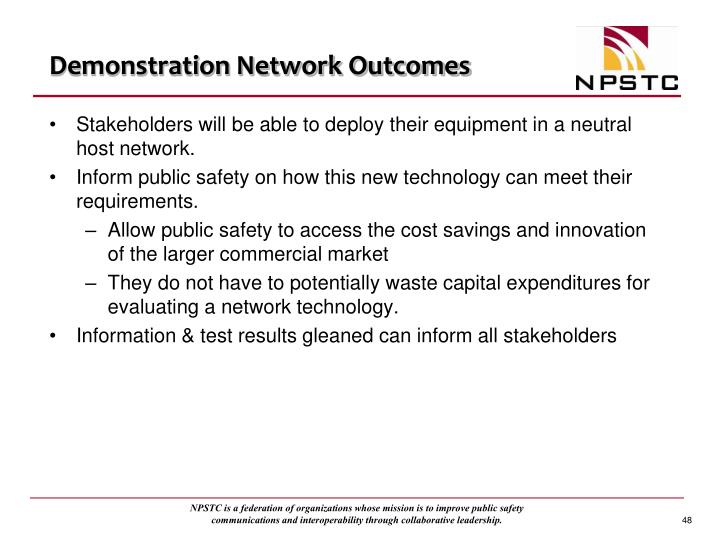 Demonstration Network Outcomes