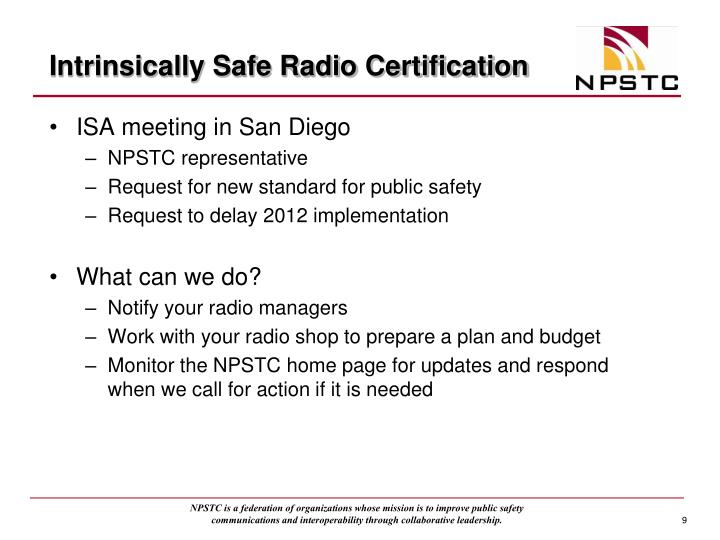 Intrinsically Safe Radio Certification