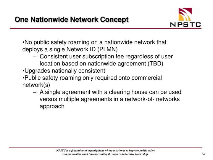 One Nationwide Network Concept