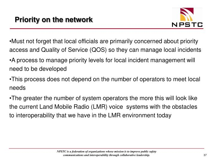 Priority on the network