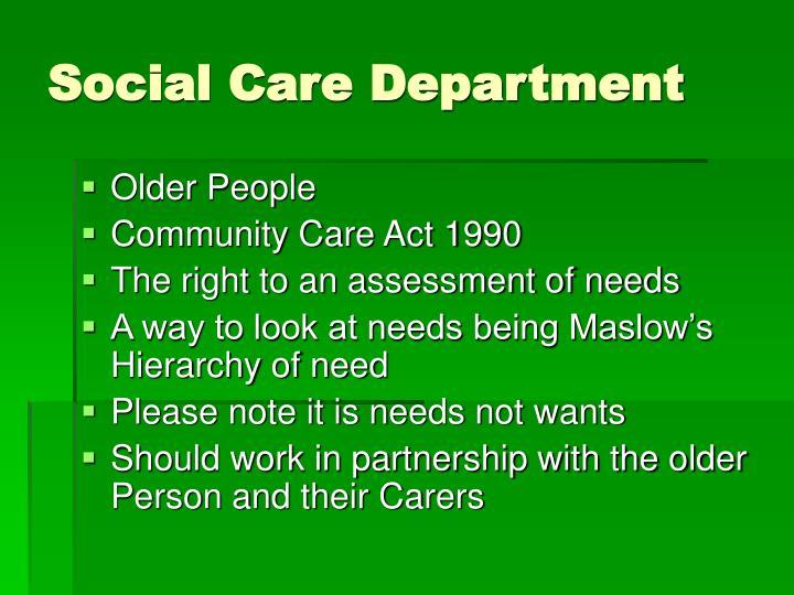 Social Care Department